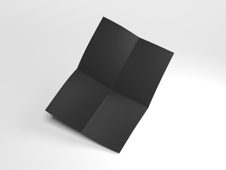 Black folded sheet. 3d rendering
