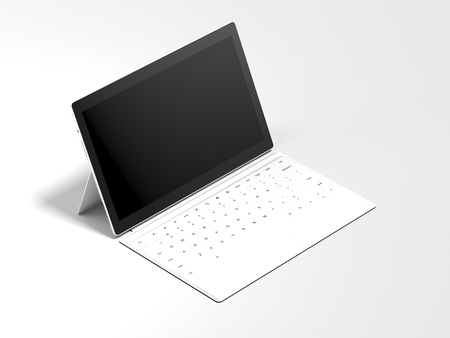 White modern opened tablet. 3d rendering Фото со стока