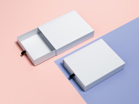 두 개의 빈 상자와 블루 핑크 브랜딩 모의. 3 차원 렌더링