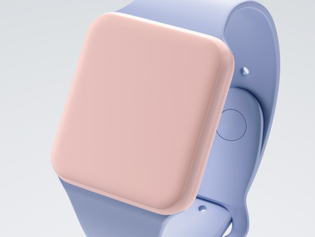 Moden blu-pink smart watch isolated on gray background. 3d rendering Stock Photo