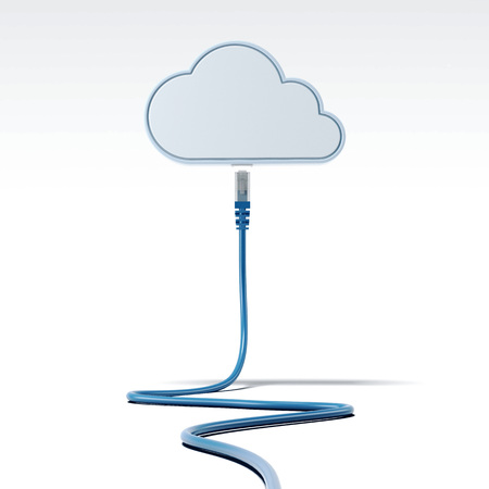 Blue patch cable connecting with cloud. Network concept. 3d rendering