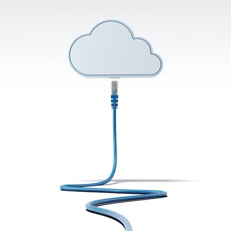 cavo di rete blu che collega con le parole di rete. il rendering 3D
