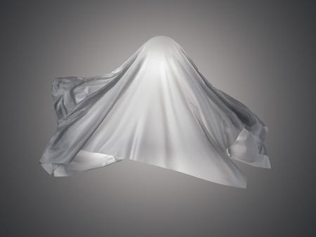 幽霊に似た形の白い布。3 d レンダリング