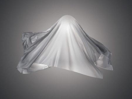 White fabric in shape resembling a ghost. 3d rendering