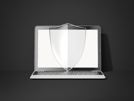 Modern laptop and transparent shield. 3d rendering