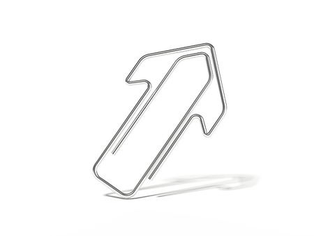 Metal arrow-shaped clip isolated. 3d rendering Stock Photo