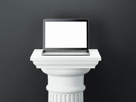Laptop on white colum isolated on dark background. 3d rendering