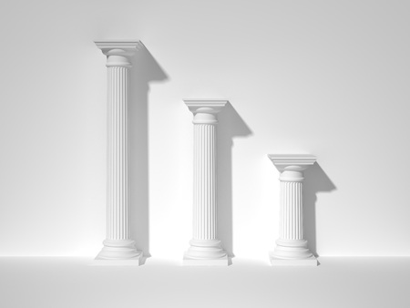 Three white greek columns. 3d rendering
