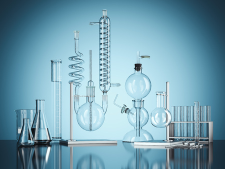 Glass chemistry lab equipment on blue background. 3d rendering Archivio Fotografico