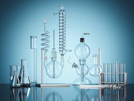 Attrezzatura di laboratorio di vetro di chimica su fondo blu. Rendering 3d