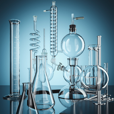 Glass chemistry lab equipment. 3d rendering