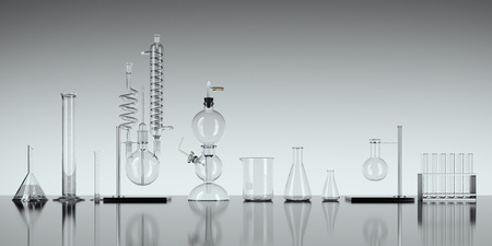 Glass chemistry lab equipment on white background. 3d rendering Archivio Fotografico