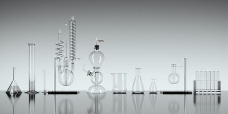 Glass chemistry lab equipment on white background. 3d rendering Standard-Bild