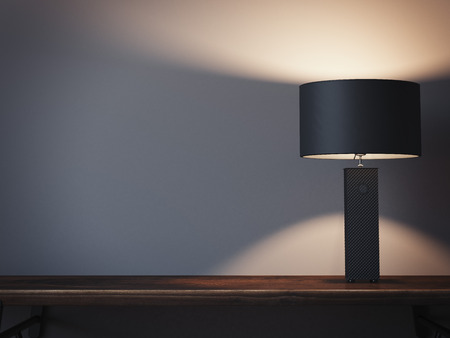 Empty shelf with lamp. 3d rendering