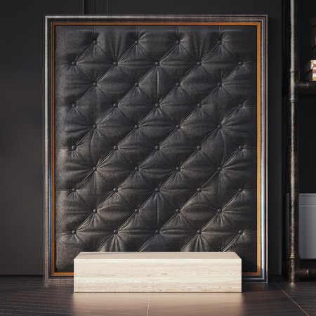 Wooden podium and black leather background. 3d rendering