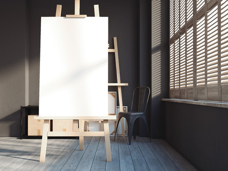 Loft interior with easel. 3d rendering Stock Photo - 90148986