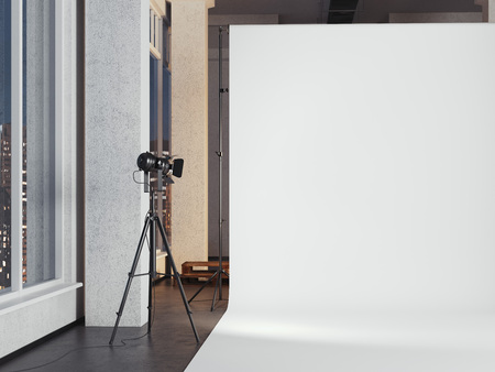 Modern photo studio with blank white background. 3d rendering Imagens