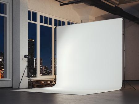 빈 흰색 배경 사진 스튜디오입니다. 3 차원 렌더링 스톡 콘텐츠