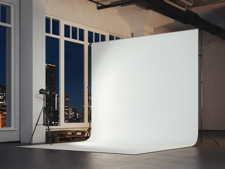 Photo studio with blank white background. 3d rendering