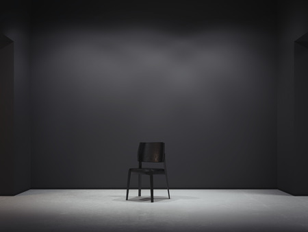 Black chair in dark interior. 3d rendering