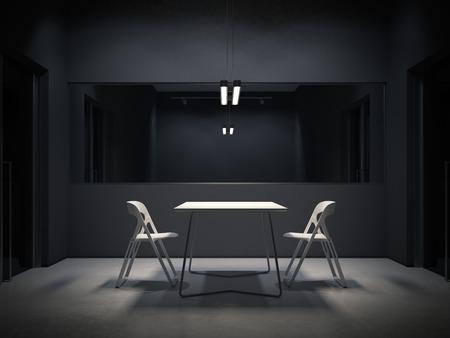 Donkere ruimte voor ondervraging. 3D-weergave Stockfoto