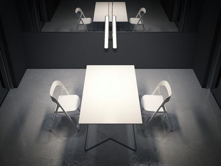 Camera oscura per gli interrogatori con due sedie bianche. Rendering 3d Archivio Fotografico - 90053903
