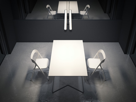 Dark room for interrogation with two white chairs. 3d rendering