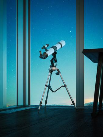 Telescopio mirato al cielo notturno. Rendering 3d Archivio Fotografico - 90149010