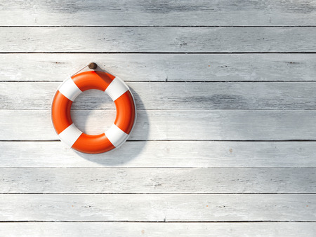 Red lifebuoy on a white wall. 3d rendering Stock Photo