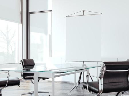 Modernes Büro für Verhandlungen mit Rolling Up Screen . 3D-Rendering Standard-Bild - 90149041