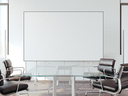Bureau moderne pour les négociations avec tableau blanc. Rendu 3d Banque d'images