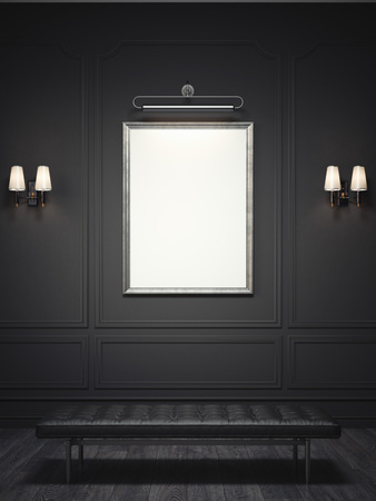 Dark classic interior with a silver picture frame. 3d rendering Фото со стока