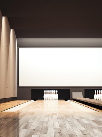 Bowling alley. 3d rendering 版權商用圖片