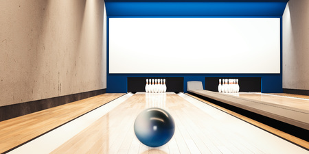 Bowling alley with ball. 3d rendering