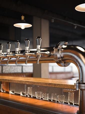 Metal beer taps in the restaurant. 3d rendering Stock Photo