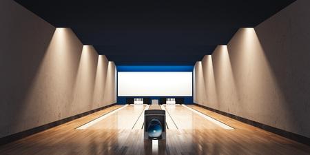 モダンなボウリングのインテリア。3D レンダリング