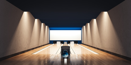 Modern bowling interior. 3d rendering 版權商用圖片