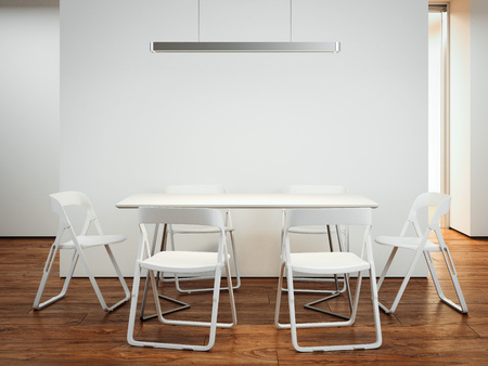 Table with chairs. 3d rendering