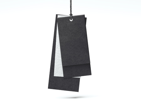 Black and silver paper tags. 3d rendering