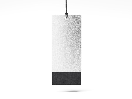 Silver paper tag. 3d rendering