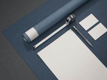 Blue architectural business mockup. 3d rendering