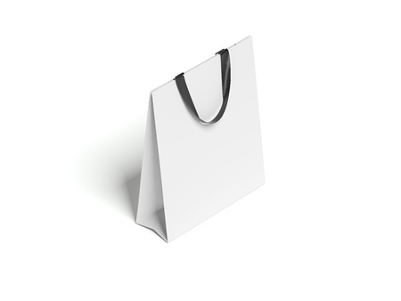 Closed white blank shopping bag. 3d rendering Stock fotó