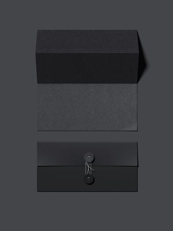 Stylish black envelope and folded sheet of paper. 3d rendering