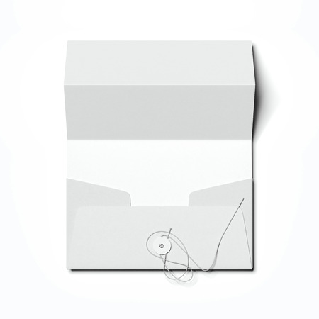 Stylish envelope and folded white sheet of paper. 3d rendering