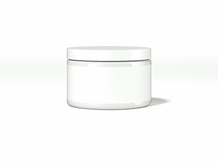 White cosmetic package with blank label. 3d rendering