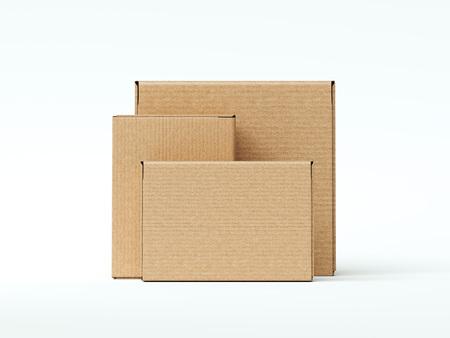 Brown cardboard blank packages. 3d rendering Banco de Imagens