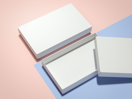 Two white boxes . 3d rendering 스톡 콘텐츠