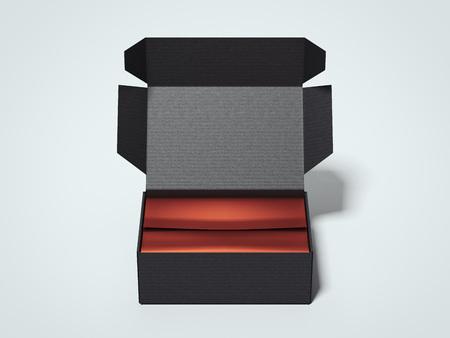 Opened black cardboard package. 3d rendering