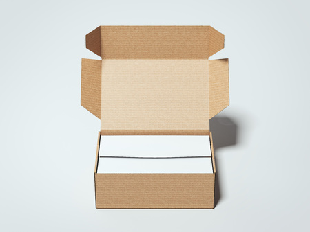 Cardboard package with white wrapping paper. 3d rendering