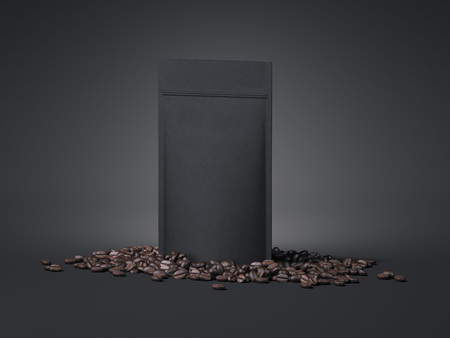 Black package and coffee beans. 3d rendering Archivio Fotografico